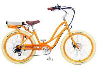 ® Electric Cruiser Bicycle Bike Orange Frame Rims Creme Tires