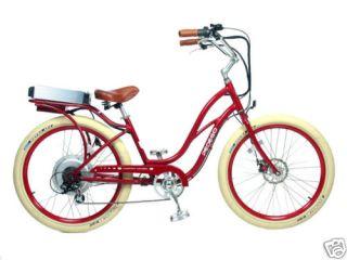 Cruiser Bicycle Bike Red Frame Red Rims Creme Balloon Tires