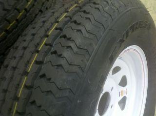 Trailer Tires St 205 75 D15 Bias Ply Tire w White Spoke Rims Wheels 15
