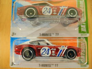 Two 2011 Hot Wheels Super Treasure Hunt T Hunt$ Datsun 240Z