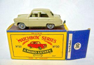 Matchbox 30A Ford Prefect Grey Brown GPW Long B4 Box