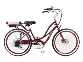 Cruiser Bicycle Bike Red Frame Red Rims White Wall Tires