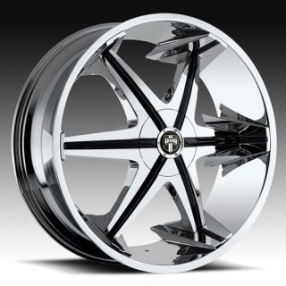 22 x9 5 Dub Big Homie w O RVT Chrome 5 Lug Wheel Rims