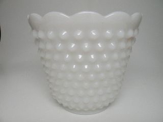 Vintage Hobnail White Milk Glass Vase with Scalloped Rim