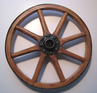 Primitive Wood Wooden Wagon Cart Wheel Spokes Iron Hub and Rim