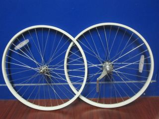 26 inch White Silver Steel Wheels Coaster Brake Beach Cruiser Bicycle