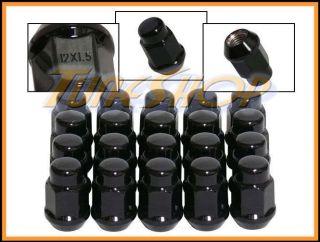 20 Bulge Acorn Wheels Rims Lug Nuts 12x1 5 M12 1 5 Closed End Black 19