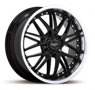 17 x7 Ruff Racing R350 Black Machined Lip Wheels Rims