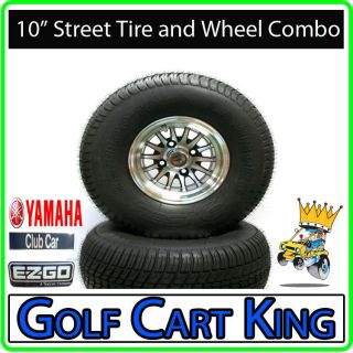 Lifted Golf Cart 10 Wheel 22 Street Tire Combo EZGO Club Car Yamaha