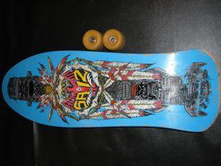 Saiz Powell Peralta Skateboard Deck and 2 Used Rat Bones Wheels