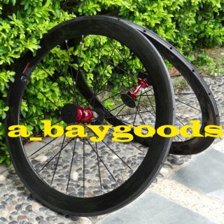 Carbon 700c Road Bike Tubular Wheelset Rim Red Hub Spoke 60mm