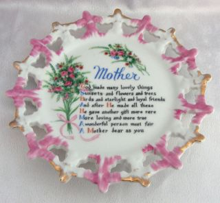 Mother Poem Plate Pink Roses and Luster with Gold Pierced Rim