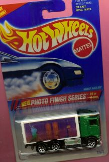 HOT WHEELS 335 HIWAY HAULER TWIN TOWER PRINT GREEN BLUE AND WHITE CARD