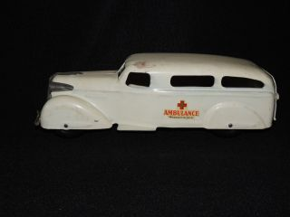 1930s Wyandotte Toys Pressed Steel Ambulance 340 wood wheels rear door