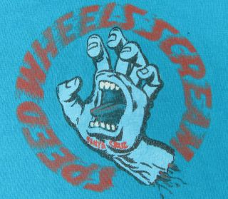 VINTAGE 80S 90S SANTA CRUZ SPEED WHEELS SCREAMING HAND T SHIRT L SK8