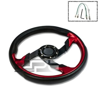 320mm 6 Hole Aluminum Racing Steering Wheel Full Black PVC Leather Red
