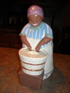 Vintage Black Americana Metlox Mammy Scrub Woman Cookie Jar Unmarked
