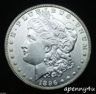 TONED RIM RARE BRILLIANT UNCIRCULATED 1896 O MORGAN SILVER DOLLAR ~ NO