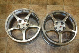 C5 Corvette Wheels Rims 2000 2004 Two Front Chrome 9593797