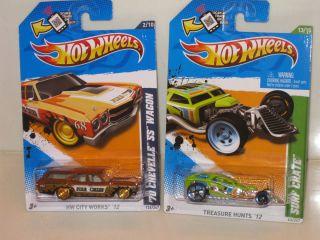 2012 Hot Wheels Super Treasure Hunt 70 Chevelle Wagon and Surf Crate