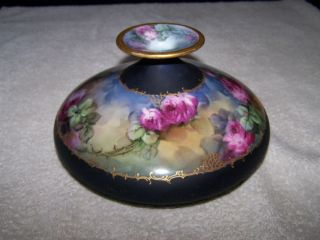 Squat Vase Hand Painted with Gold Rim Pink Purple Roses
