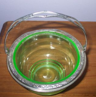 Uranium Vaseline Glass Basket Bowl with Silver Metal Rim and Handle