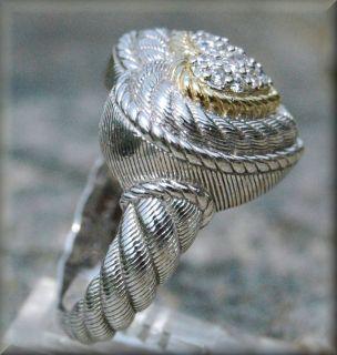 Judith Ripka Signature Heart Sterling Silver w Gold Accent Diamonique