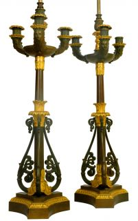 Pair Antique Dore Patinated Bronze Candelabra Lamps