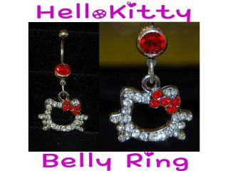 Kitty Navel Naval Belly Button Ring with Rhinestones Red Bow
