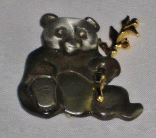 Mark Shields Pewter Panda Pin or Brooch Handwrought