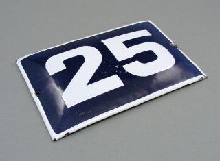 1940s Blue White Enamel Tin Street Door Number Sign 25