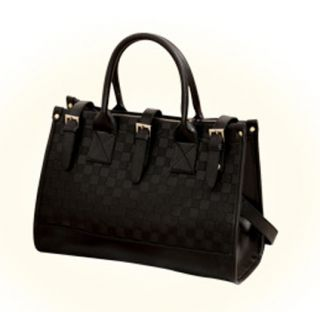 Fashion Black Vintage Square Grid Handbag Single Shoulder Bag Womens