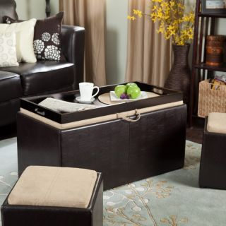 Linon Home Decor Products Inc Garrett Coffee Table Storage Ottoman with Tray &