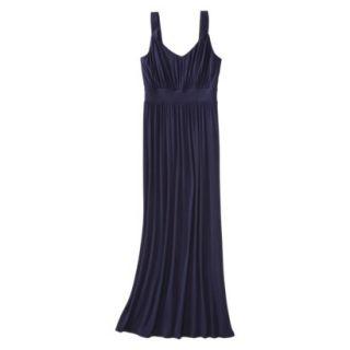 Merona Womens Knit V Neck Ruched Waist Maxi Dress   Xavier Navy   L