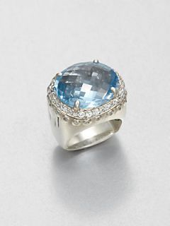 John Hardy White Sapphire and Sterling Silver Ring/Sky Blue Topaz   Silver Blue