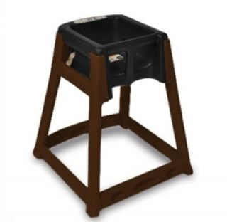 CSL Foodservice & Hospitality High Chair Infant Seat w/ Black Seat, Dark Brown Frame