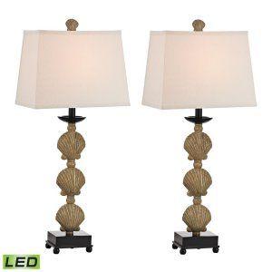 Dimond Lighting DMD D2449 S2 LED Breamore 2 Pack Shell Table Lamp LED