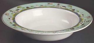 Sakura Coastal Breeze 14 Large Salad Serving Bowl, Fine China Dinnerware   Warr