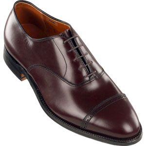 Alden Mens Perforated Straight Tip Bal Calfskin Burgundy Shoes   905