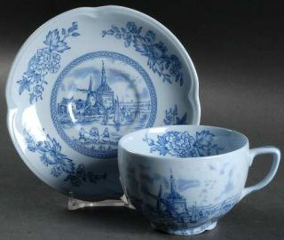 Johnson Brothers Tulip Time Blue (Blue Background) Flat Cup & Saucer Set, Fine C