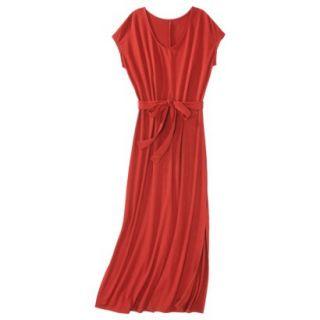 Merona Womens Knit V Neck T Shirt Maxi Dress   Hot Orange   XS