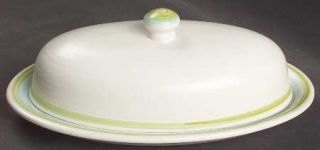 Franciscan Tulip Time 1/4 Lb Covered Butter, Fine China Dinnerware   Blue/Green