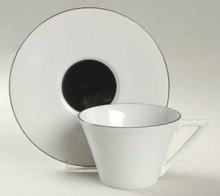 Sasaki China Deux Par Deux Flat Cup & Saucer Set, Fine China Dinnerware   Multic