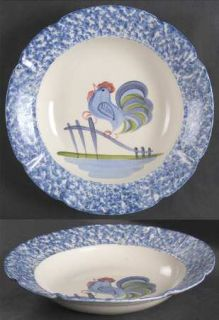 Los Angeles Blue Stipple W/Rooster Large Rim Soup Bowl, Fine China Dinnerware