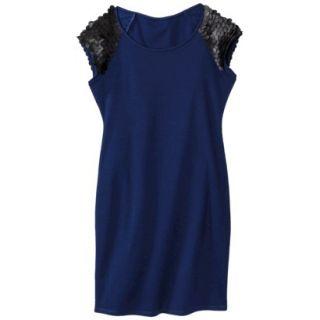 Mossimo Womens Faux Leather Disc Ponte Dress   Blue/Black L