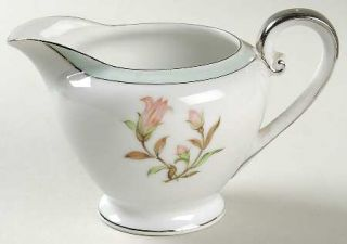 Jyoto Roberta Creamer, Fine China Dinnerware   Green Band,Floral Center