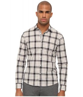 Michael Kors Collection Ryan Check Shirt Mens Long Sleeve Button Up (Khaki)