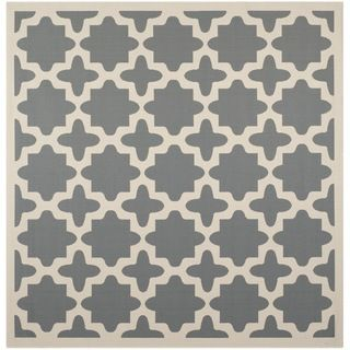 Safavieh Soft Polyproplene Indoor/ Outdoor Courtyard Anthracite/ Beige Geometric Rug (710 Square)