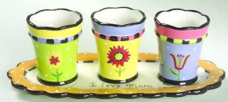 Mothers Day Herb Pots W/Tray (3 Motif Herb Pots & 1 Tray), Fine China Dinnerware