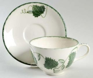 Poole Pottery Green Leaf Breakfast Cup & Saucer Set, Fine China Dinnerware   Gre